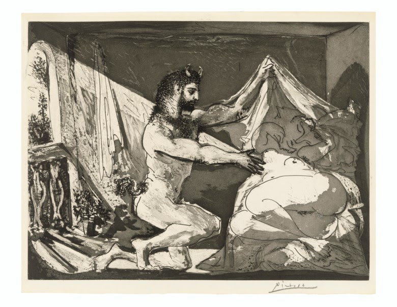 Pablo Picasso (1881-1973), Faune devoilant une femme, from La Suite Vollard. Aquatint. Plate 315 x 419 mm, Sheet 339 x 450 mm. Estimate £30,000-50,000. Offered in Prints & Multiples on 18 March 2020 at Christie's in London