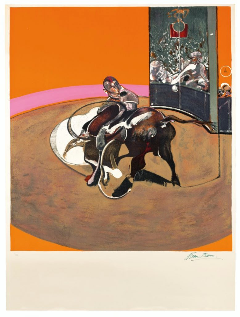 Francis Bacon (1909-1992), Étude pour une corrida, 1971. Lithograph in colours. Image 1263 x 1150 mm, Sheet 1600 x 1200 mm. Estimate: £40,000-60,000. Offered in Prints & Multiples on 18 March 2020 at Christie's in London