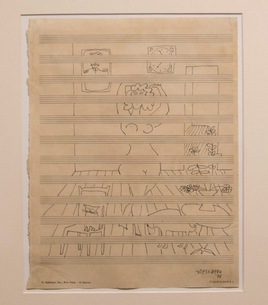 Saul Steinberg Untitled, 1948, 1948 Ink on music manuscript paper Paper: 11 3⁄4 x 9 1⁄4 inches Framed: 22 x 20 1⁄2 inches