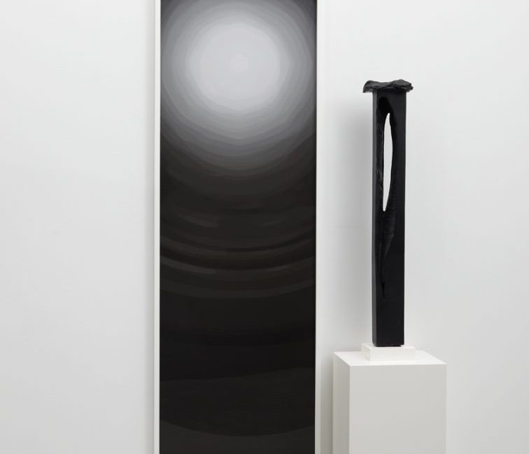 Anthony Pearson b.1969 Untitled (Flare Arrangement) 2009 bronze sculpture with cobalt on bismuth patina, base, pedestal, framed color photograph 81 h × 48 w × 15 d in 206 × 122 × 38 cm $ 16,000